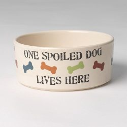PetRageous 5.5 Cup One Spoiled Dog Bowl, 7″, Natural/Multicolor