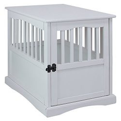 Casual Home 600-41 Wooden Pet Crate, White, 24″ H