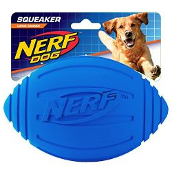 Nerf Dog Squeak Ridged Rubber Football Dog Toy, Medium/Large, Blue