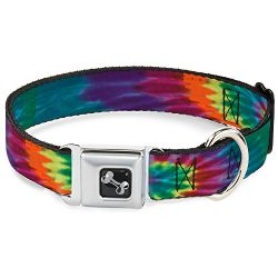 Dog Collar Seatbelt Buckle Buckle Down Tie Dye 15 to 26 Inches 1.0 Inch Wide