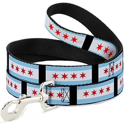 Buckle Down Dog Leash Chicago Flags Black 4 Feet Long 0.5 Inch Wide