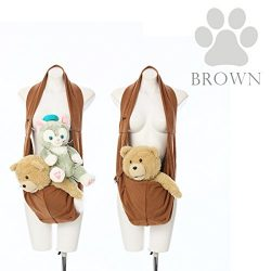 Waikei Store Fluffy Sling Small Dog pet Bag Brown, Clear
