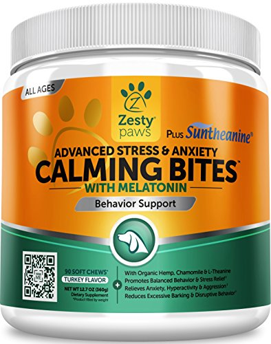 Zesty Paws Advanced Calming Soft Chews for Dogs – with Suntheanine & Melatonin – Anxiety Composure Aid with L Tryptophan for Dog Stress Relief – for Storms + Barking & Chewing – 90 Chew Treats