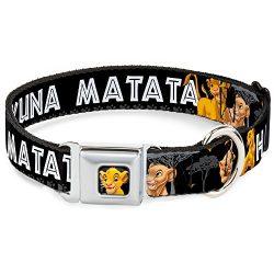 Dog Collar Seatbelt Buckle Lion King Simba Nala Hakuna Matata 9 to 15 Inches 1.0 Inch Wide