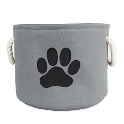 DII Bone Dry Medium Round Pet Toy and Accessory Storage Bin, 14.5″(Dia)x12″(H), Collapsible Organizer Storage Basket for Home Décor, Pet Toy, Blankets, Leashes and Food-Gray with Black Paw