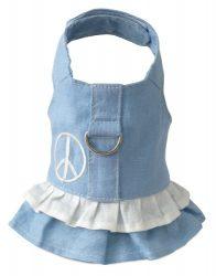 Doggles Hemp Dress Dog Harness with Peace Sign, Blue, Teacup