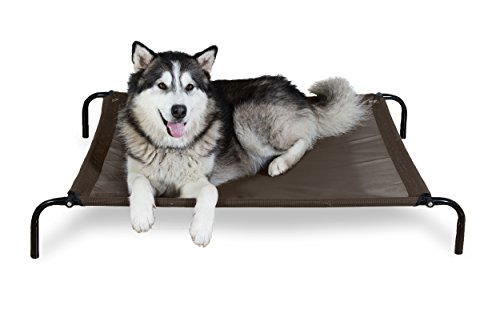 FurHaven Pet Dog Cot | Elevated Reinforced Cot Pet Bed for Dogs & Cats, Espresso, Large
