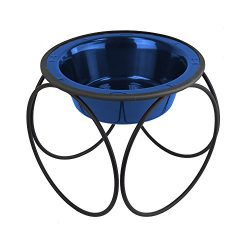 Platinum Pets Single Olympic Diner Feeder with Stainless Steel Dog Bowl, 6.25 Cup/50 oz, Sapphire Blue