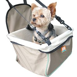 Animal Planet Puppy Booster Car Seat Cover for Small Dogs – Portable, Foldable, Collapsable Pet Car Carrier with Safety Leash – 12Lbs & Under – Tan w. Teal Trim
