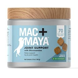 Mac + MayaTM Dog Supplement, Joint Support with Glucosamine for Dogs, Supports Connective Tissue, Cartilage Health, Joint Movement, & Synovial Fluid, 70 Soft Chews