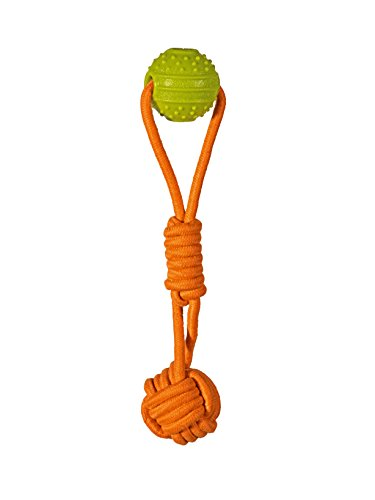 Chase 'n Chomp Double Tug Rope Toy That Floats with Rubber & TPR Ball, Large