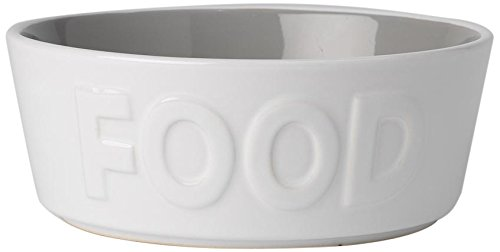 PetRageous 14013 Back to Basics Food White/Gray 2.5 Cups Bowl