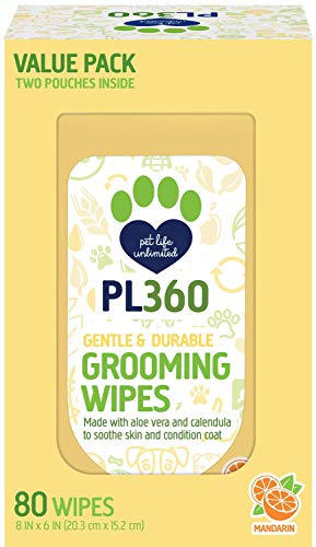 PL360 Dog Grooming Wipes, Mandarin, 80 Count Value Pack