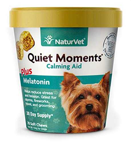 NaturVet – Quiet Moments Calming Aid for Dogs – Plus Melatonin | Helps Reduce Stress & Promote Relaxation | Great for Storms, Fireworks, Separation, Travel & Grooming