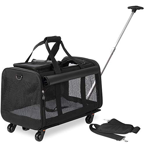 Kundu Pet Carrier with Detachable Wheels for Small & Medium Dogs & Cats – Black