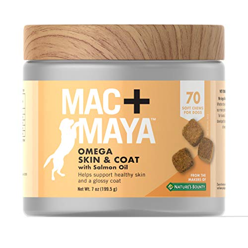 Mac and Maya Mac + Maya Omega Skin & Coat with Salmon Oil for Dogs, Support for Healthy, Moisturized Skin and a Glossy Coat for Dogs, 70 Soft Chews