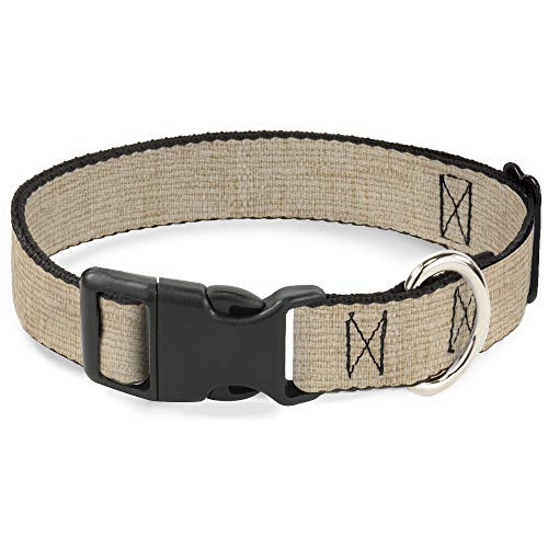 Buckle Down Dog Collar Plastic Clip Natural Hemp 13 to 18 Inches 1.5 Inch Wide