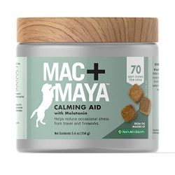Mac + MayaTM Calming Aid for Dogs with Melatonin, Helps to Reduce Stress & Tension for Dogs, with Thiamine and L-tryptophan, 70 Soft Chews