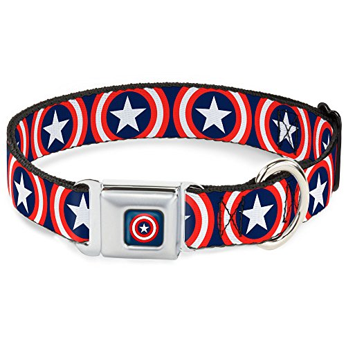 Buckle-Down Seatbelt Buckle Dog Collar – Captain America Shield Repeat Navy – 1″ Wide – Fits 15-26″ Neck – Large