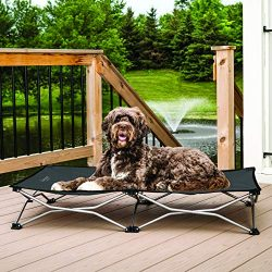 Carlson Pet Products 8025 Elevated Folding Pet Bed 47″ Long, Includes Travel Case, Charcoal
