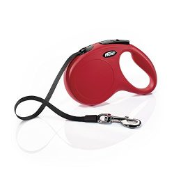 Flexi New Classic Retractable Dog Leash (Tape), 16 ft, Medium, Red