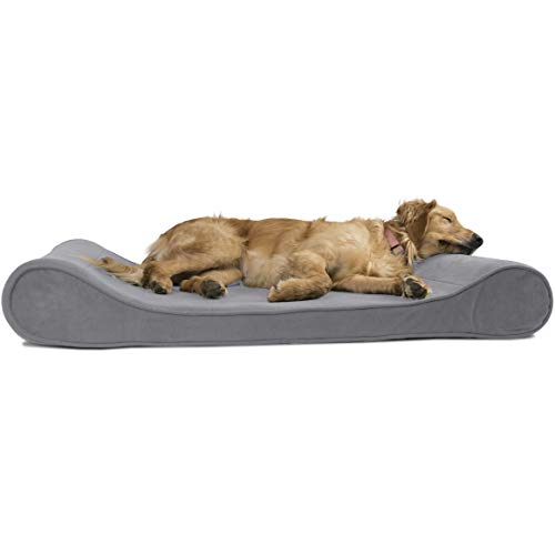 FurHaven Pet Dog Bed | Orthopedic Microvelvet Luxe Lounger Pet Bed for Dogs & Cats, Gray, Jumbo