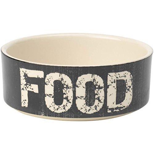PetRageous 2-Cup Food Vintage Pet Bowl, 5-Inch, Black/Natural