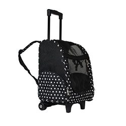 World Traveler Women's 18″ Rolling Pet Carrier Backpack Convertible-Black White Dot Fashion, One Size