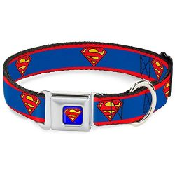 Buckle-Down Seatbelt Buckle Dog Collar – Superman Shield/Stripe Red/Blue – 1″ Wide – Fits 9-15″ Neck – Small