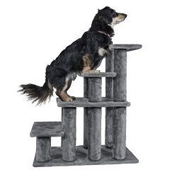 Furhaven Pet Stairs | Steady Paws Multi-Step Pet Stairs Ramp for Dogs & Cats, Gray, 4-Step