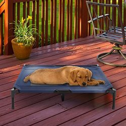Elevated Pet Bed-Portable Raised Cot-Style Bed W/ Non-Slip Feet, 36″x 29.75″x 7″ for Dogs, Cats, and Small Pets-Indoor/Outdoor Use by Petmaker (Blue)