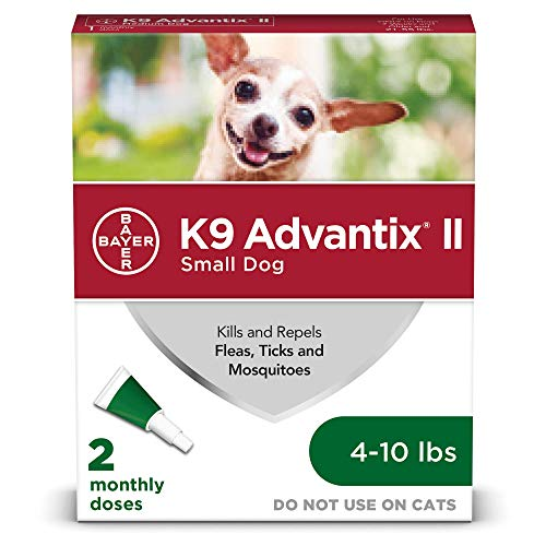 Bayer K9 Advantix II Flea, Tick and Mosquito Prevention for Small Dogs, 4 – 10 lb, 2 doses