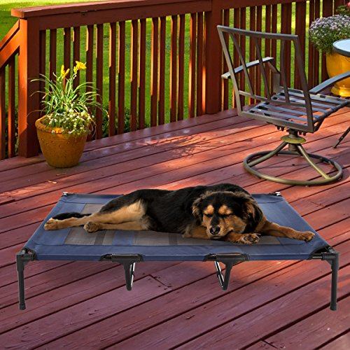 Elevated Pet Bed-Portable Raised Cot-Style Bed W/ Non-Slip Feet, 48″x 35.5″x 9″ for Dogs, Cats, and Small Pets-Indoor/Outdoor Use by Petmaker (Blue)