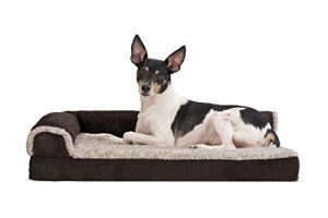 Furhaven Pet Dog Bed | Deluxe Memory Foam Two-Tone Plush Faux Fur & Suede L Shaped Corner Chaise Lounge Sofa-Style Living Room Couch Pet Bed for Dogs & Cats, Espresso, Medium