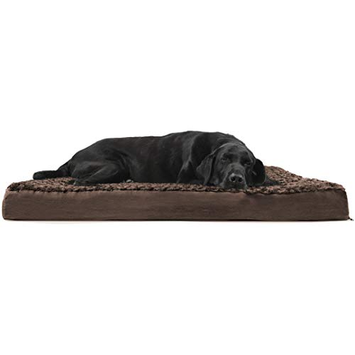 Furhaven Pet Dog Bed   Deluxe Orthopedic Mat Ultra Plush Faux Fur Traditional Foam Mattress Pet Bed for Dogs & Cats, Chocolate, Jumbo