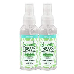 Honest Paws Natural Dental Spray Tartar Control Formula in Simply Mint Flavor, Pack of 2   Dog Teeth Cleaning Spray