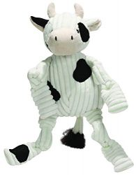 HuggleHounds Plush Corduroy Durable Squeaky Knottie, Dog Toy, Great Dog Toys  for Aggressive Chewers, Cow, Small