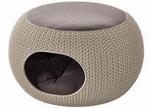 Keter by Curver 22.7″ x 22.3″ x 13″ Knit Cozy Luxury Lounge Bed & Pet Home with Cushions, Small to Medium