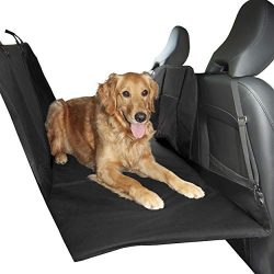 FurHaven Pet Car Barrier | Deluxe Barrier & Hard Bottom Seat Protector w/ Carry Bag, Black
