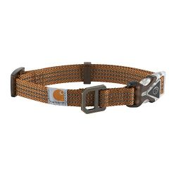 Carhartt Lighted Dog Collar, Premium Collar with Built-in 3 Mode red LED Safety Light for Night time Visibility, Medium, Carhartt Brown