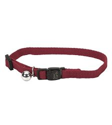 Coastal Pet New Earth Soy Adjustable Breakaway Cat Collar with Bell, Adjust 8″ to 12″, Cranberry Color (1-Pack)