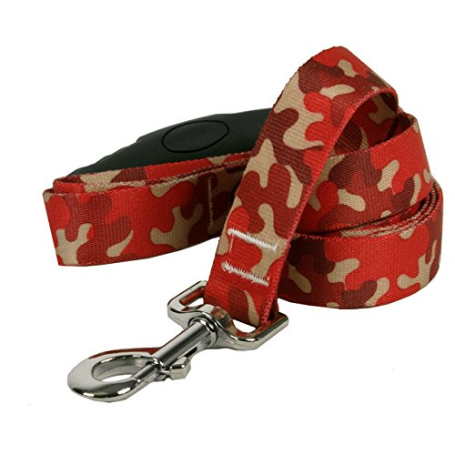 Yellow Dog Design Camo Red Ez-Grip Dog Leash with Comfort Handle 1″ Wide and 5′ (60″) Long, Large