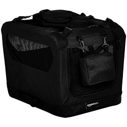 AmazonBasics Premium Folding Portable Soft Pet Dog Crate Carrier Kennel – 21 x 15 x 15 Inches, Black