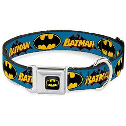 Dog Collar Seatbelt Buckle Vintage Batman Logo Bat Signal Blue 15 to 26 Inches 1.0 Inch Wide
