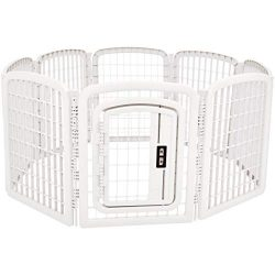 AmazonBasics 8-Panel Plastic Pet Pen Fence Enclosure With Gate – 59 x 58 x 28 Inches, White