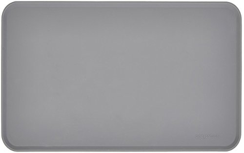 AmazonBasics Silicone Waterproof Pet Food And Water Bowl Mat For Dog or Cat – 18.5 x 11.5 Inches, Grey