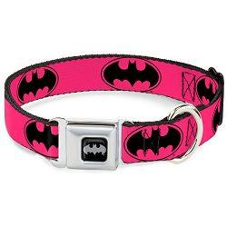 Dog Collar Seatbelt Buckle Bat Signal 3 Fuchsia Black Fuchsia 11 to 17 Inches 1.0 Inch Wide