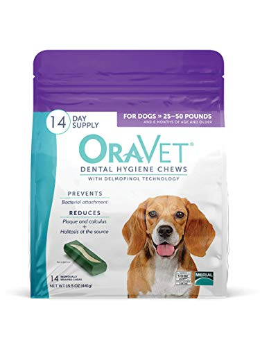 Oravet Dental Hygiene Chews for Medium Dogs, 14 Count