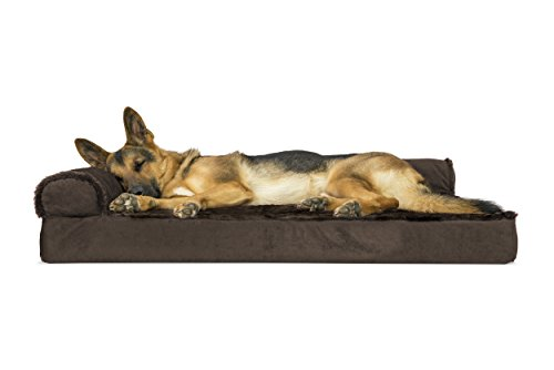 Furhaven Pet Dog Bed | Deluxe Orthopedic Plush Faux Fur & Velvet L Shaped Corner Chaise Lounge Sofa-Style Living Room Couch Pet Bed for Dogs & Cats, Sable Brown, Jumbo