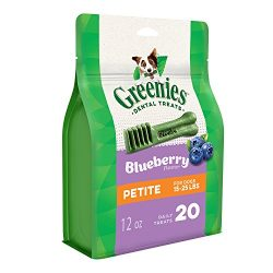 GREENIES Blueberry Flavor Petite Natural Dog Dental Chews  – 12 Ounces 20 Treats